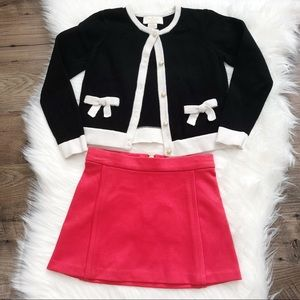 Kate Spade Girls Bow Cardigan Skirt Outfit Set 4